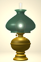 Victorian Brass Table Lamp featuring a green shade with a white interior just like the real thing.