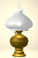 Victorian Brass Table Lamp with white shade.