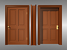 Complete Victorian 4-panel door and casement made to fit a standard 6 inch thick Victorian house wall. Inside, outside, and side views shown.