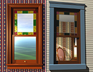 Inside and outside views of a Queen Anne Victorian window. Companion to the door to the left.