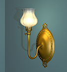 Wall Sconce with a fluted shade.